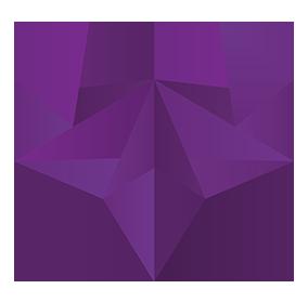Purple polygonal heart for Congress Xstream 2021